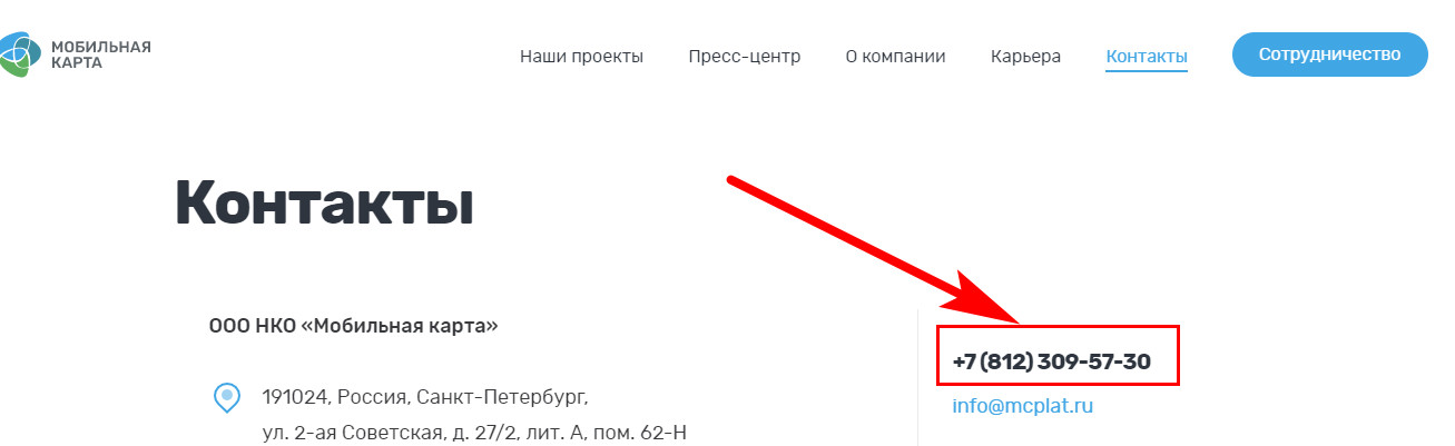 Мобильная карта НКО номер горячей линии